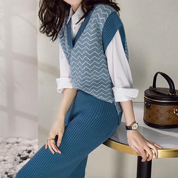 fashion-full-미드나잇 니트 베스트 & 스커트 SET(TIME SALE 20%)♡韓國女裝套裝