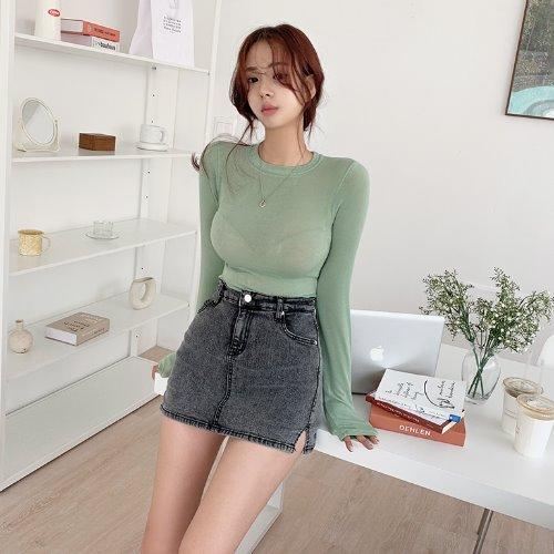 jnroh-(텐셀) 라크 라운드 슬림핏 데일리 티셔츠 (아이보리,민트,그레이,블랙)♡韓國女裝上衣