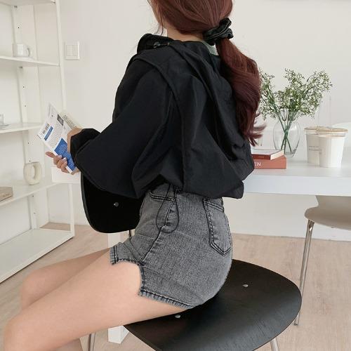 jnroh-올그 아방 크롭 바람막이 아노락 후드 점퍼 (오렌지,블랙)♡韓國女裝外套
