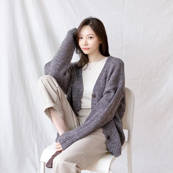 misscandy-[no.21021 알파카울 브이넥 루즈핏가디건]♡韓國女裝外套