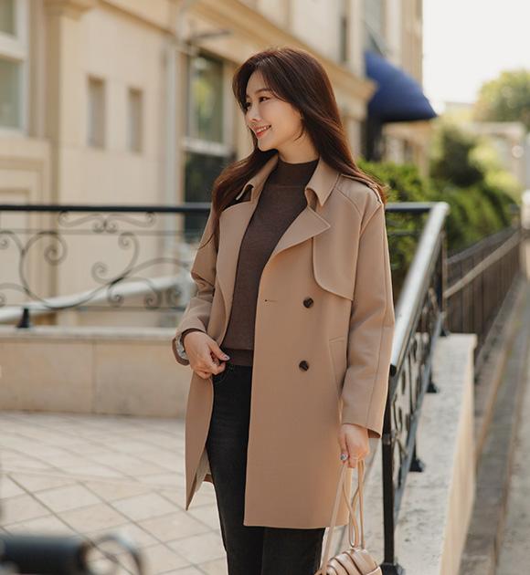justone-버렌 스판 하프 트렌치코트♡韓國女裝外套