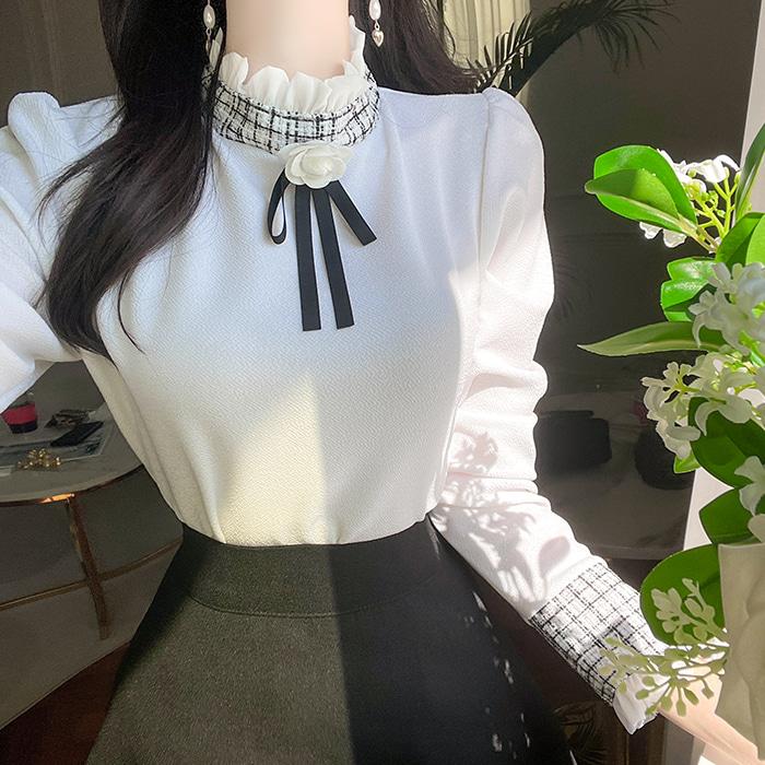 myfiona-(장미리본브로치세트) 프릴 트위드 배색티 a1824 - 러블리 로맨틱 1위 쇼핑몰 피오나♡韓國女裝上衣