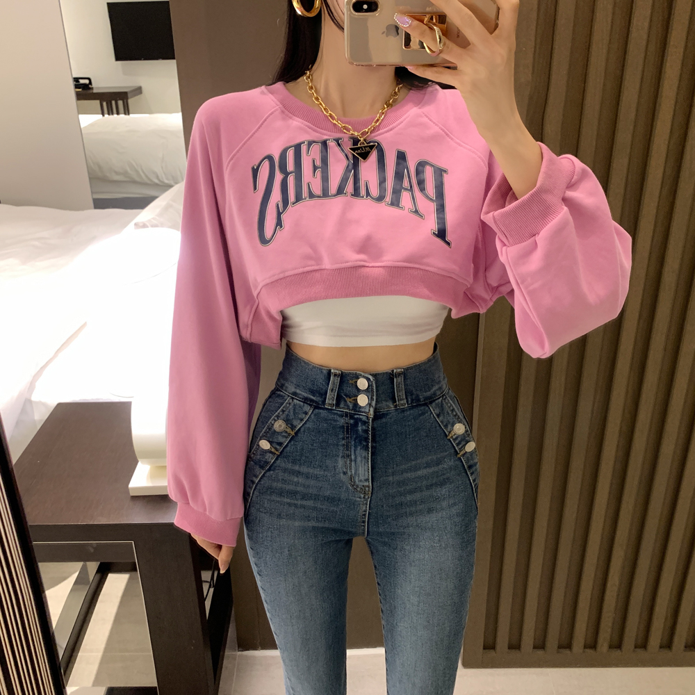 uinme-핑키 미니 크롭 맨투맨 - 유인미핑키 미니 크롭 맨투맨 - 유인미♡韓國女裝上衣