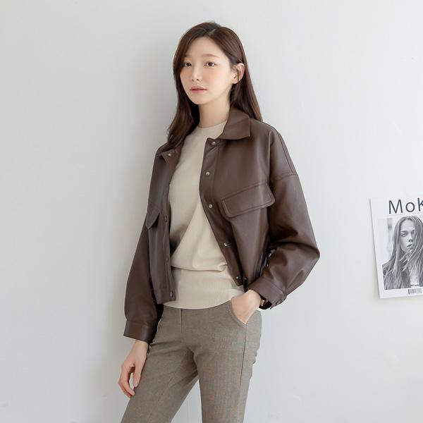 misscandy-[no.21018 플랩포켓 루즈핏 레더자켓]♡韓國女裝外套