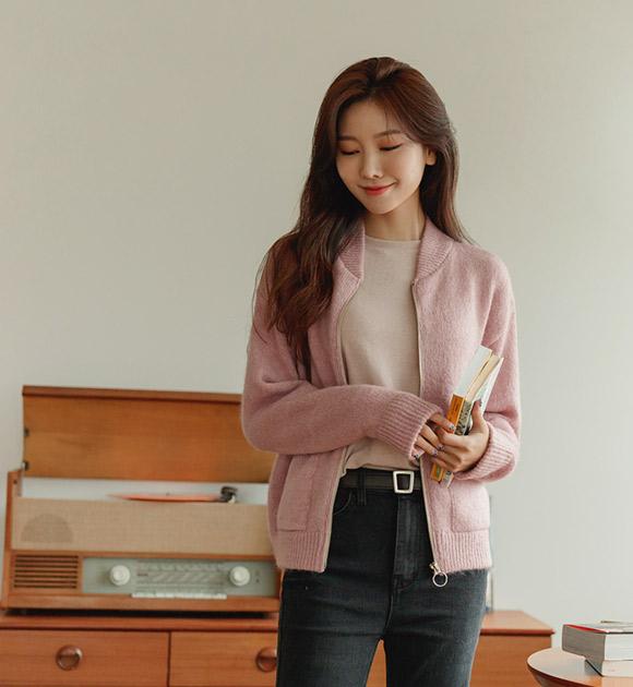 justone-드웰 모헤어 집업 니트가디건♡韓國女裝外套