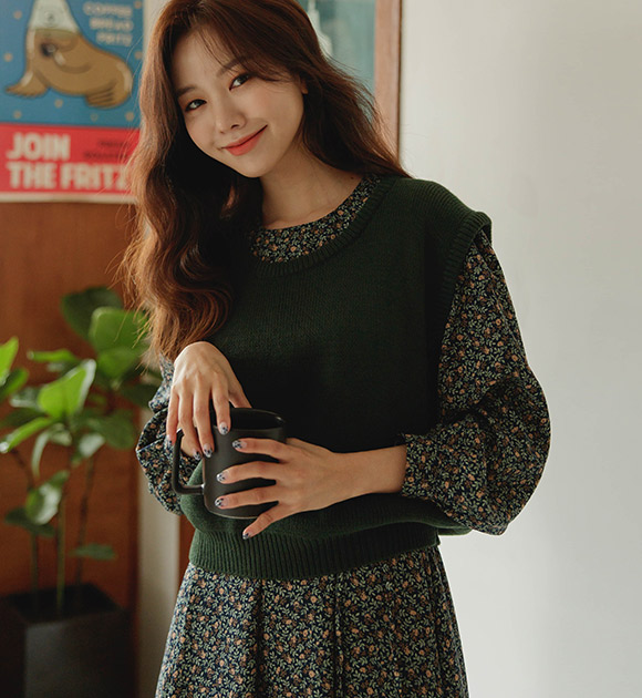 justone-메럴 U넥 니트조끼♡韓國女裝上衣
