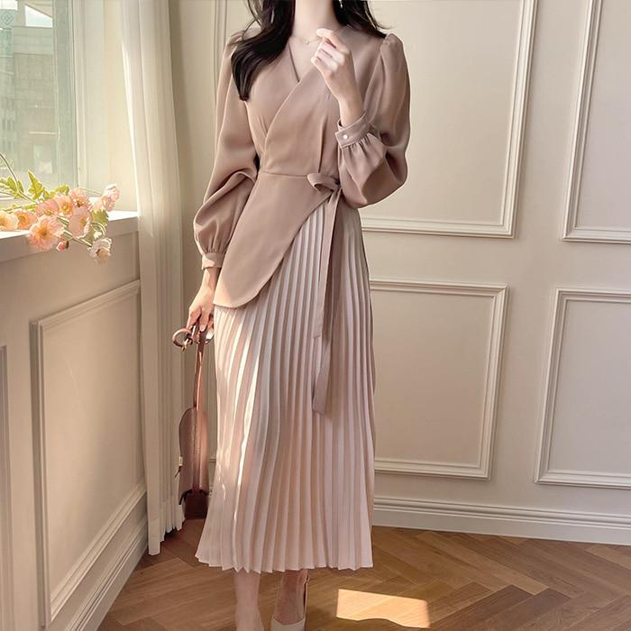 myfiona-르엣 랩블라우스와 플리츠스커트 일체형원피스 a1825 - 러블리 로맨틱 1위 쇼핑몰 피오나♡韓國女裝連身裙