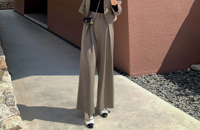 minsshop-(뒷밴딩)페리 핀턱 와이드슬랙스 (주문폭주!)♡韓國女裝褲