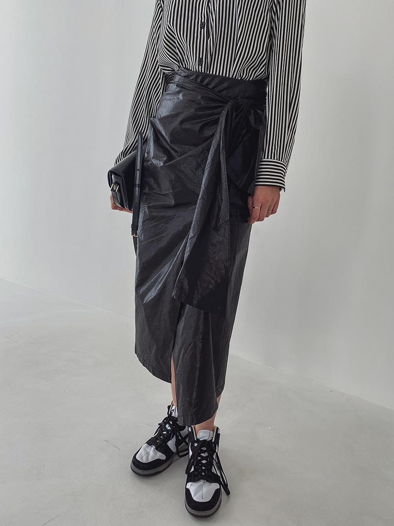 crazygirls-코팅랩미디스커트-sk♡韓國女裝裙