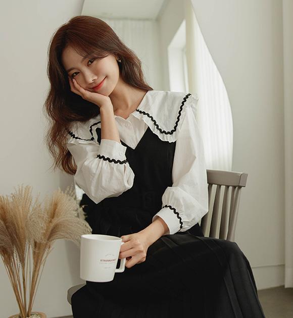 justone-컨티 물결라인 빅카라 블라우스♡韓國女裝上衣
