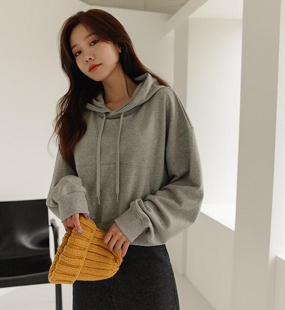 justone-카미 세미크롭 후드맨투맨♡韓國女裝上衣