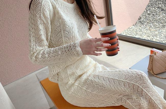 minsshop-탑+스커트 SET 로사 레이스 니트 투피스♡韓國女裝套裝