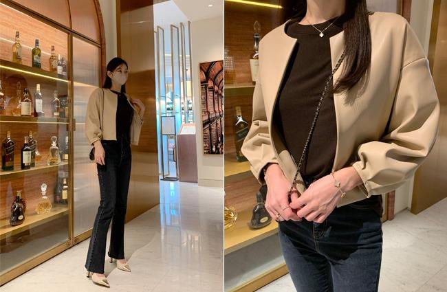 minsshop-플레이스 퍼프 레더자켓♡韓國女裝外套