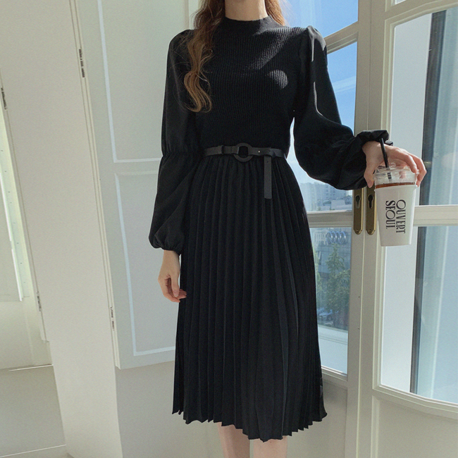 cherryville-[고혹적인 플리츠롱원피스+벨트세트]♡韓國女裝連身裙