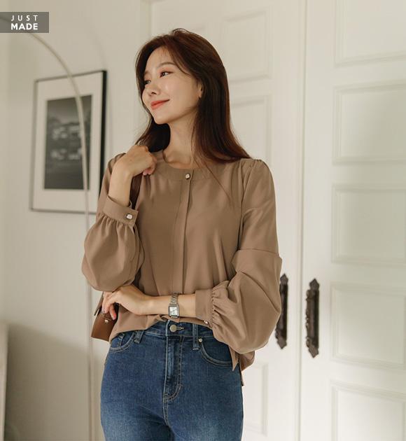justone-안나 스퀘어버튼 퍼프블라우스♡韓國女裝上衣