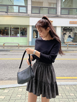 jstyleshop-[로이헬 물결 골지 티셔츠]♡韓國女裝上衣