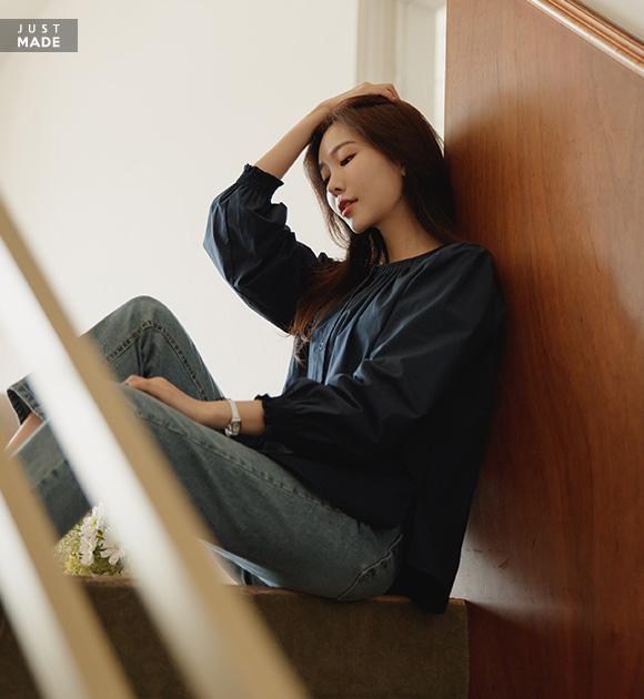 justone-크밀 핀턱 밴딩소매 블라우스♡韓國女裝上衣