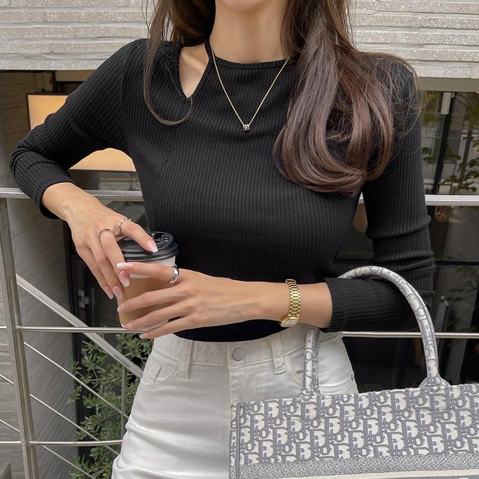 dabagirl-티워스트임탑_A3TO 슬림핏 데이트룩 여친룩 데일리룩 30대여성쇼핑몰 20대여자쇼핑몰 키작은여자쇼핑몰 여성의류쇼핑몰 포인트룩 브라운티셔츠 블랙티셔츠♡韓國女裝上衣