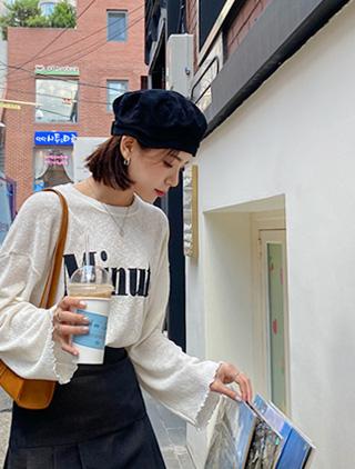 jstyleshop-[레센디 레터링 니트티셔츠]♡韓國加大碼上衣