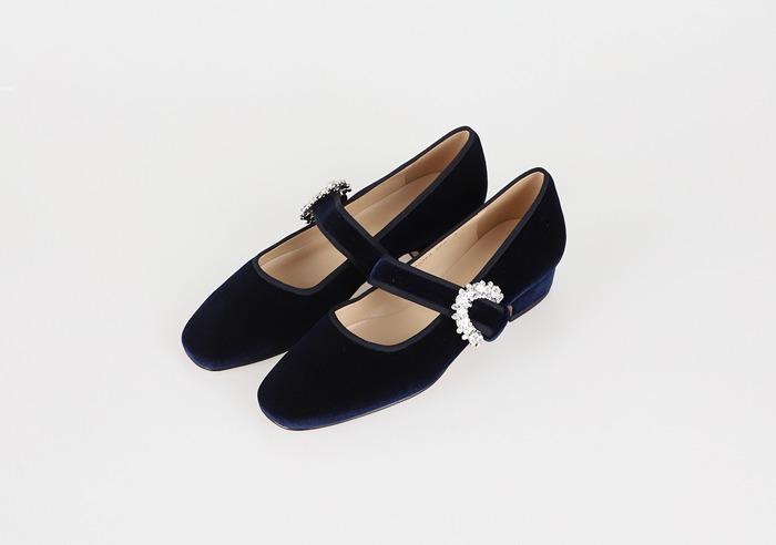prostj-알마 벨벳 큐빅 메리제인 (2colors)♡韓國女裝鞋