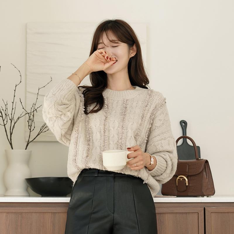 clicknfunny-페힐드 꽈배기니트♡韓國女裝上衣