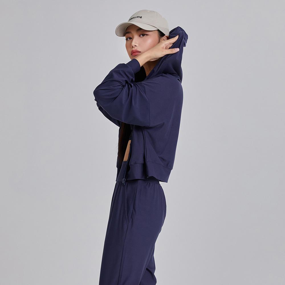 skullpig-마일드 크롭후드집업 네이비♡韓國瑜伽女裝上衣