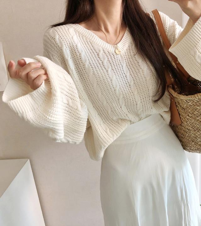 uniqueon-와플 케이블 여리여리핏 루즈핏 크롭 브이 니트T [H1017]♡韓國女裝上衣