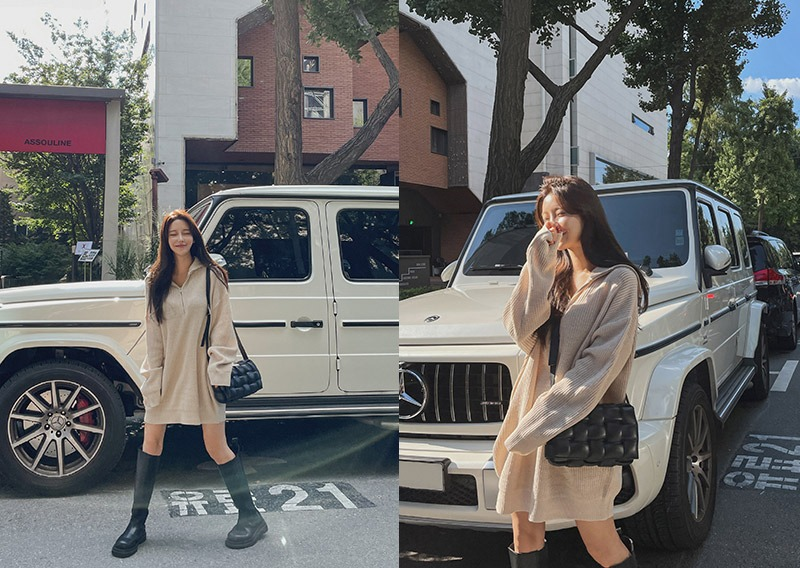 maybins-반집업 니트 미니 원피스♡韓國女裝連身裙