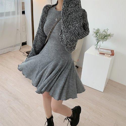 jnroh-스릿 하찌 볼륨 볼레로 크롭 니트 가디건 (크림,베이지,보카시,블랙)♡韓國女裝外套