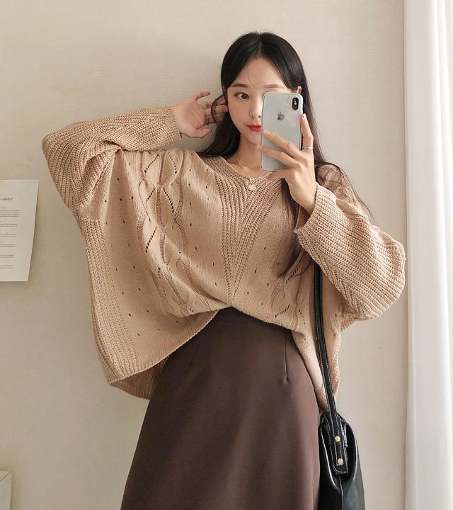 uniqueon-여리여리핏♥ 코지 브이 하찌 케이블 루즈핏 니트T (4color) [H1008]♡韓國女裝上衣