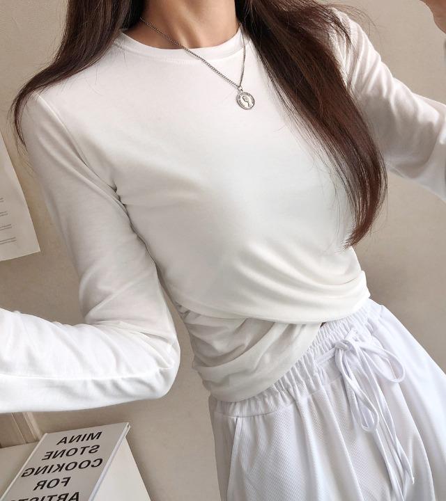 uniqueon-꼬임 셔링 크롭 무지 긴팔티 [H1015]♡韓國女裝上衣