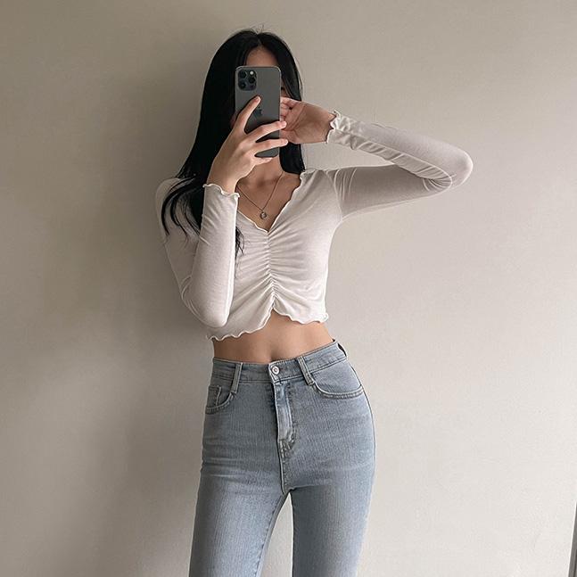 sonyunara-에밀리 셔링 슬림핏 크롭 티셔츠♡韓國女裝上衣