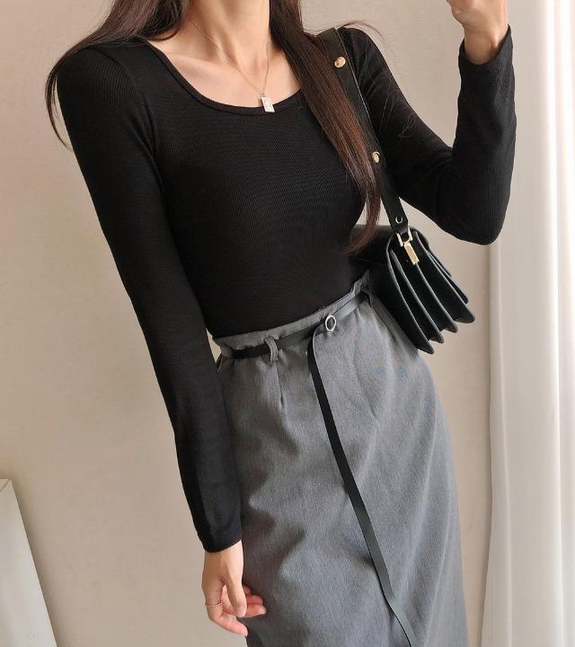 uniqueon-데일리 골지 모찌 스판 쫀쫀 스퀘어넥 베이직 긴팔T (4color) [H1010]♡韓國女裝上衣