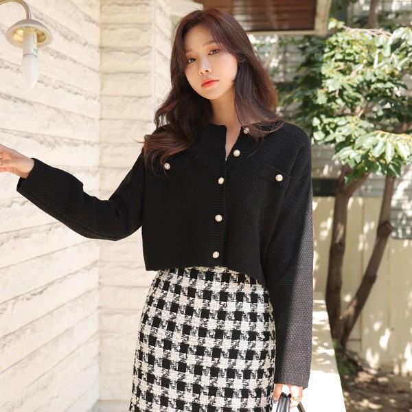ode-[진주 버튼 데일리 세미 크롭 가디건]♡韓國女裝外套
