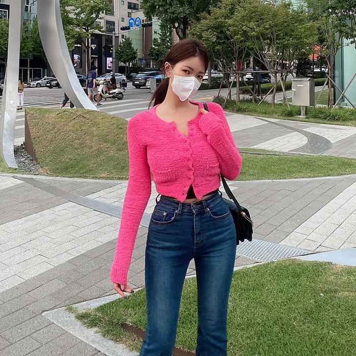 hypnotic-[봉실크롭니트 가디건]♡韓國女裝外套