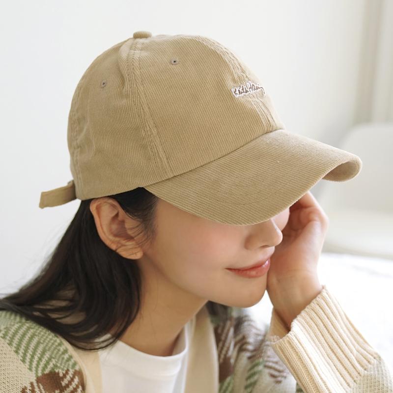 clicknfunny-에킨레터링 코듀로이볼캡♡韓國女裝飾品
