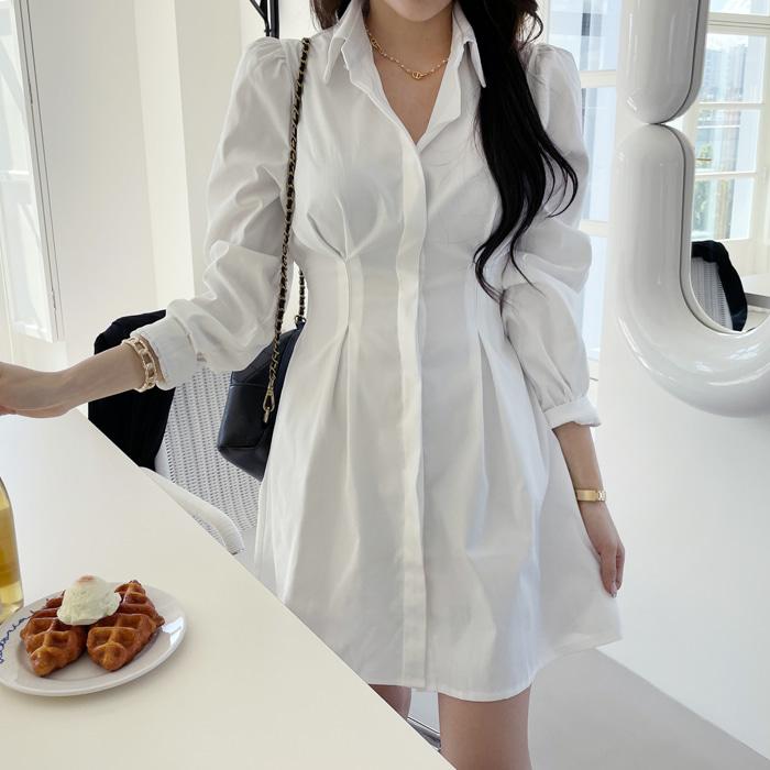 deepny-플레인핀턱셔츠원피스♡韓國女裝連身裙