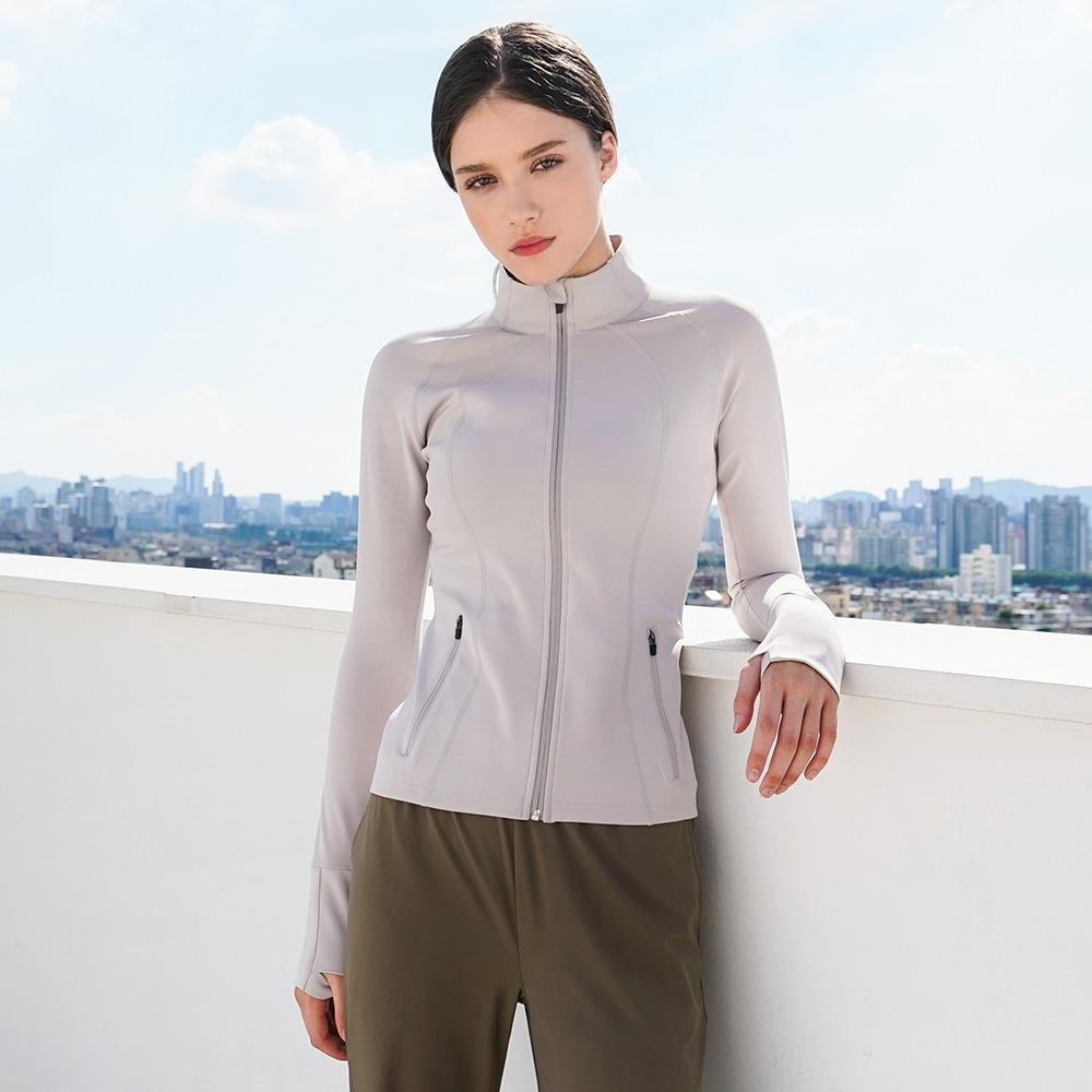 skullpig-에어라이트 라인 자켓 라이트그레이♡韓國瑜伽女裝上衣