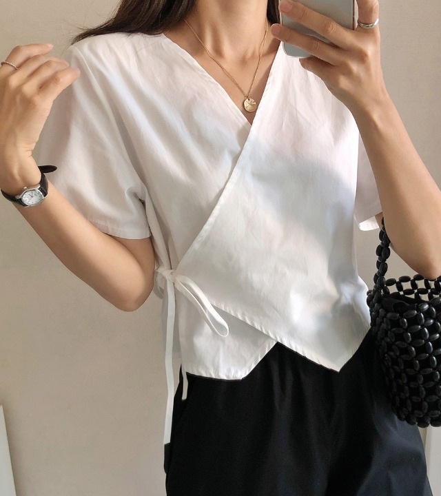 uniqueon-로지 코튼 랩 반팔 블라우스 [H1019]♡韓國女裝上衣