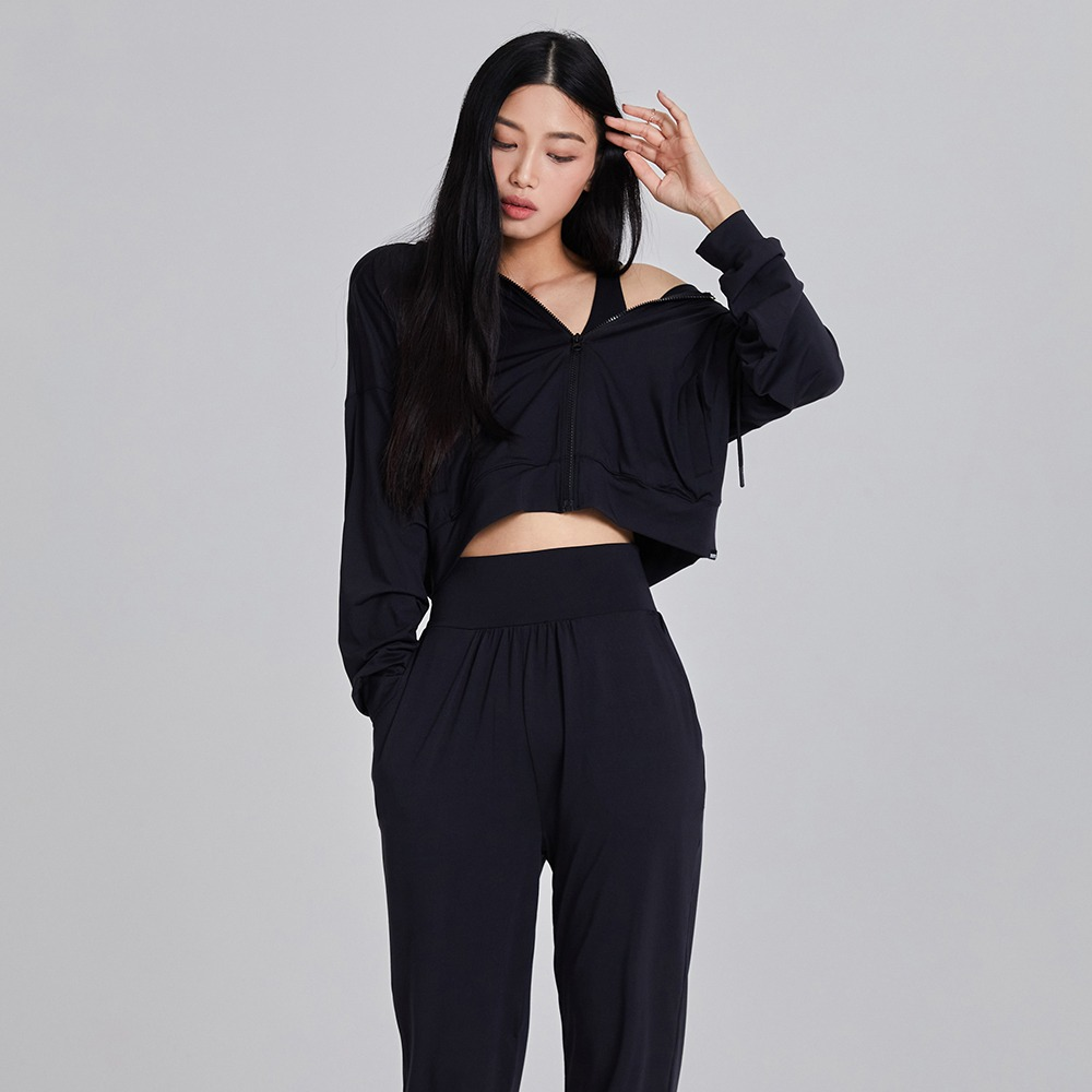skullpig-마일드 크롭후드집업 블랙♡韓國瑜伽女裝上衣
