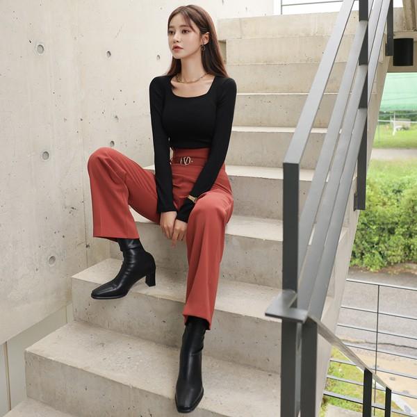 ode-[베이직 소프트 골지 스퀘어넥 티셔츠]♡韓國女裝上衣