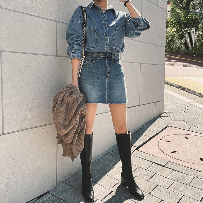 wingsmall-블루먼(쓰리버튼치마바지)♡韓國女裝裙