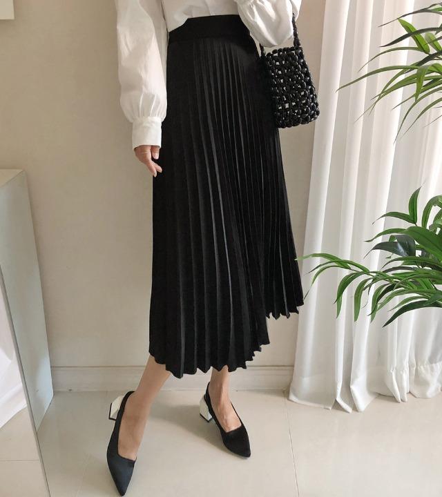 uniqueon-[7컬러♥] 피아노 새틴 플리츠 주름 플레어 롱스커트 [H1026]♡韓國女裝裙
