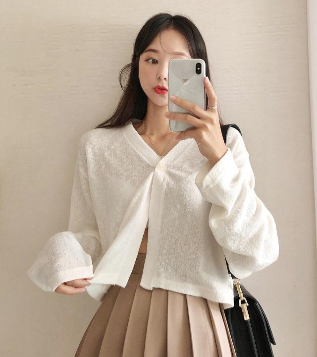 uniqueon-러블리 드롭숄더 원버튼 루즈 아방핏 크롭가디건 [H1003]♡韓國女裝外套