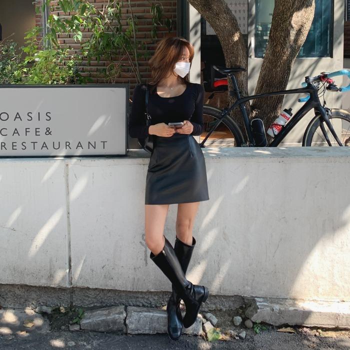 theresheis-플로아 레더 미니 스커트♡韓國女裝裙