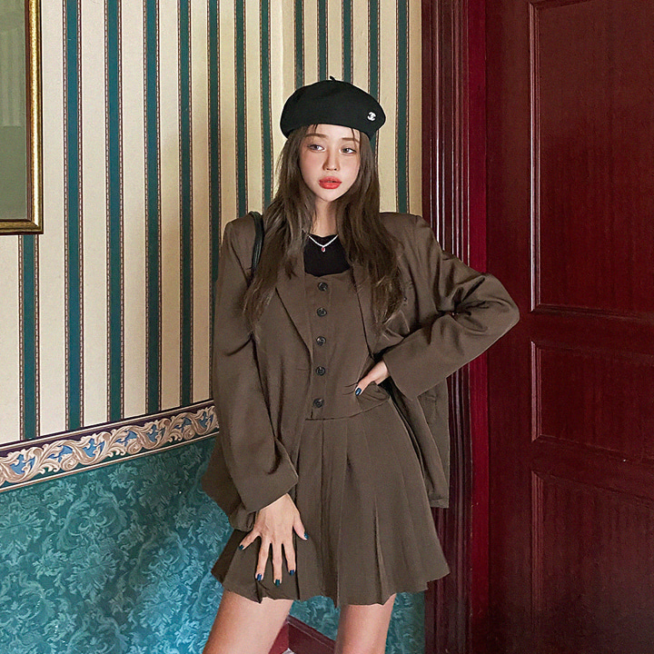 lagirl-[라걸BEST] 플리원피스자켓세트-set♡韓國女裝連身裙套裝