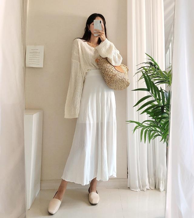 uniqueon-미스트 하이웨스트 주름 플레어 롱스커트 [H1018]♡韓國女裝裙