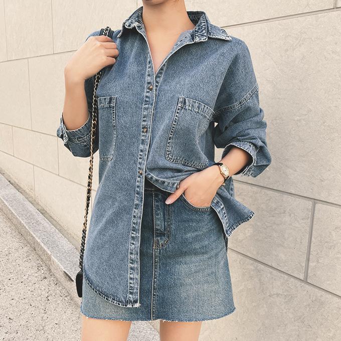 wingsmall-블루먼(노튼데님셔츠)♡韓國女裝上衣