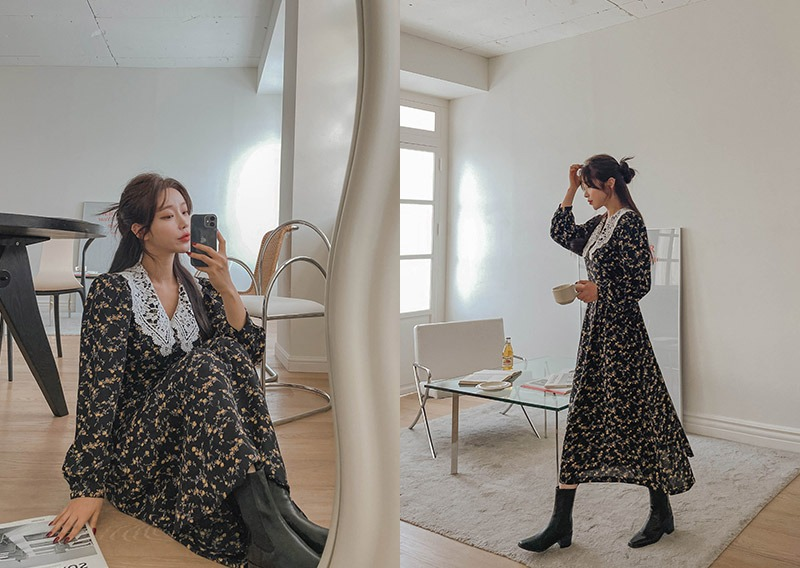 maybins-그렛 플라워 롱 원피스♡韓國女裝連身裙