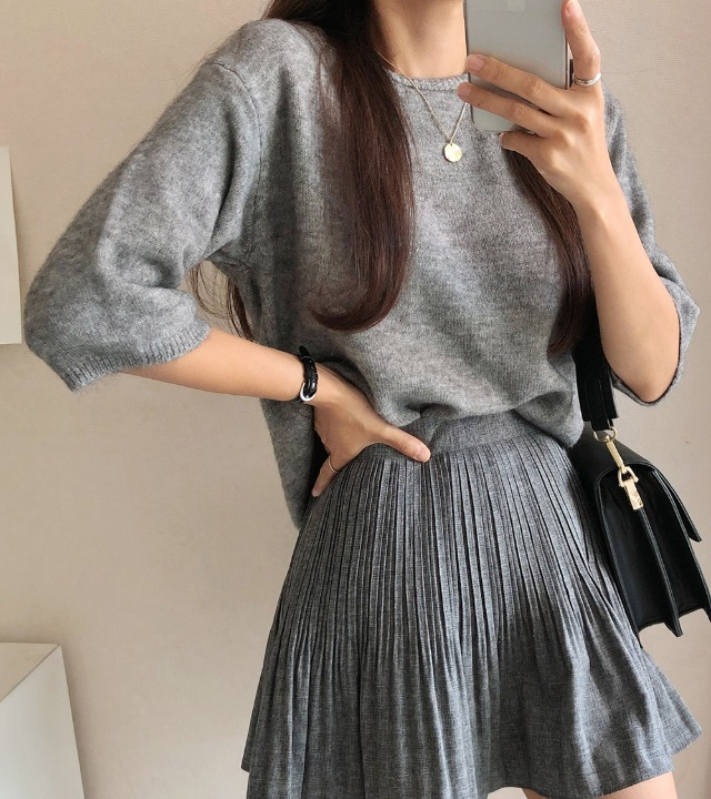 uniqueon-모던 포그니 하프슬리브 니트T [H1005]♡韓國女裝上衣